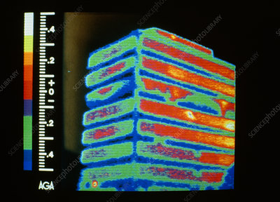 Thermogram of heat loss from multi-storey office