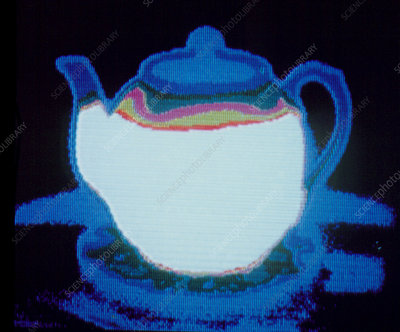 Thermograph of teapot after filling with hot water