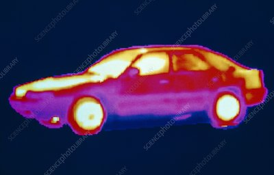 256-colour thermogram of a car