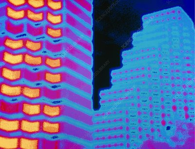 Colour thermogram of two office buildings