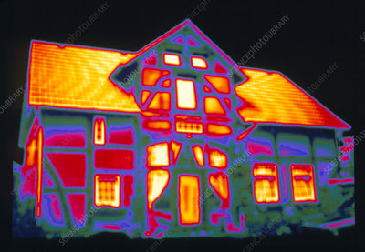 Thermogram showing heat loss from a house