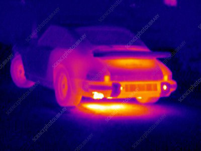Porsche car, thermogram