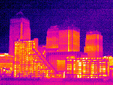 Canary Wharf, London, UK, thermogram