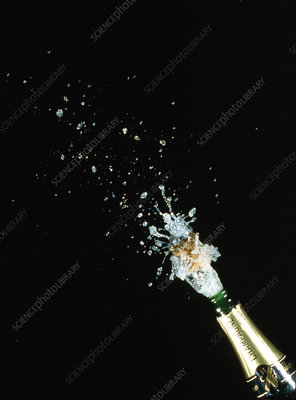 High speed photo of champagne cork popping