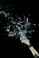 High-speed photo of champagne cork popping