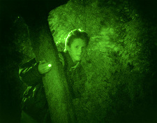 Night vision image of a man