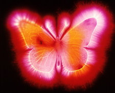 Kirlian photograph of a model of a butterfly