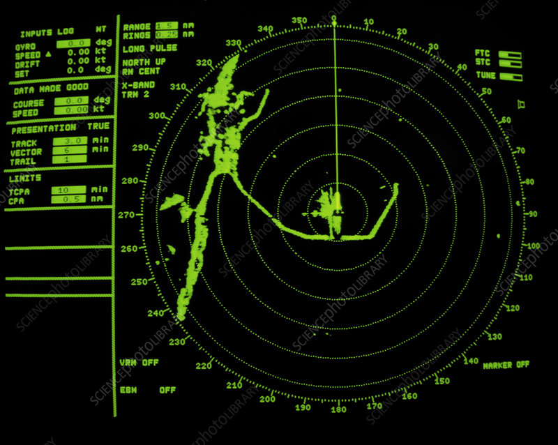 Quarter Mile Calculator >> Ship's radar screen while in port - Stock Image H820/0049 - Science Photo Library