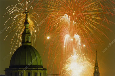 Fireworks over London - Old Bailey in foreground.