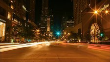 Traffic at night, Chicago, USA