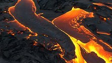 Aerial view of volcanic activity, Hawaii
