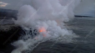 Kilauea lava flowing into the sea, Hawaii
