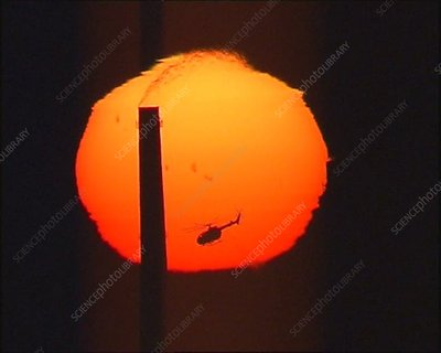 Helicopter passing in front of the Sun