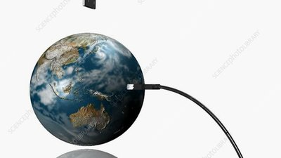 Plugging USB into Earth concept