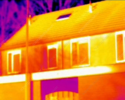 Houses in sunlight, thermography