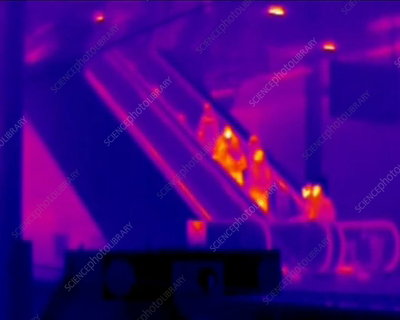 People on an escalator, thermography