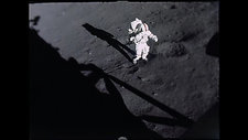 Apollo 17 first steps on the Moon