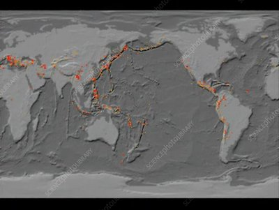 20th Century earthquake locations