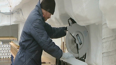 Sawing ice core, Antarctica