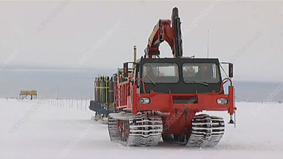 Nodwell mobile crane at CASLAB, Antarctic
