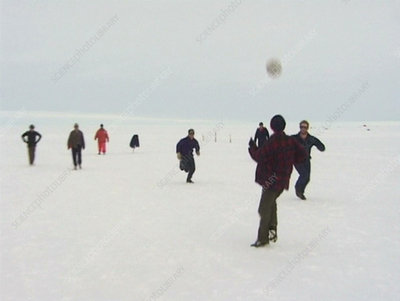 Playing football, Antarctica