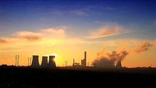 Coal-fired power station, sunrise