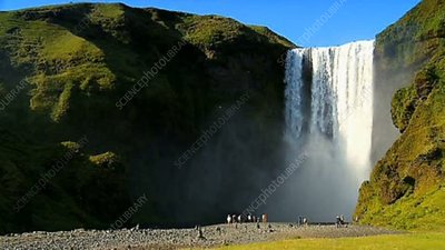 Tourists at Gulfoss waterfall, Iceland