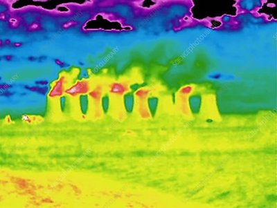 Thermogram of cooling towers