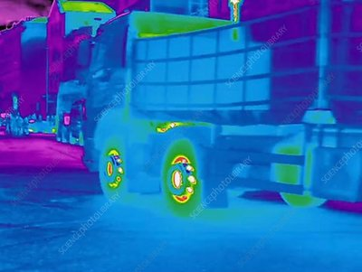Thermogram of road traffic