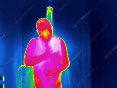 Thermogram of a man showering