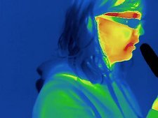 Thermogram of girl eating ice lolly