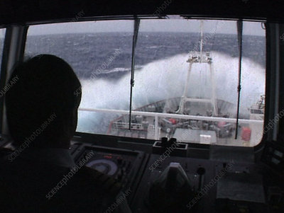 Ship in rough seas, Antarctica