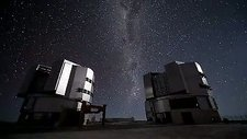 Stars over VLT telescope domes