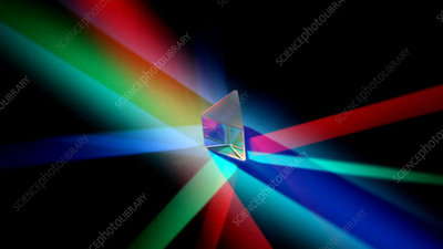 Revolving prism in coloured lights