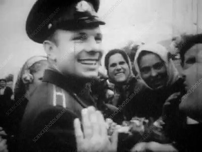 Gagarin at a celebratory parade