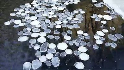 Ice on a river, timelapse