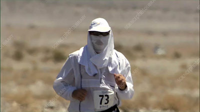 Man running in Death Valley
