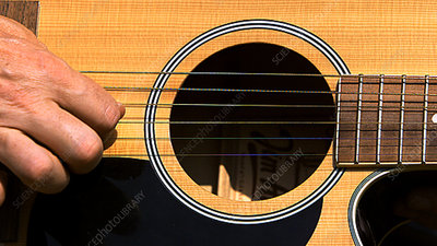 Guitar strings vibrating, high speed
