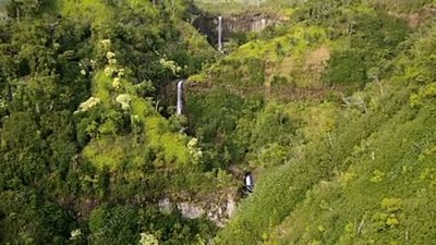 Aerial view of waterfalls