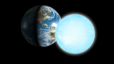 Earth and a white dwarf star compared