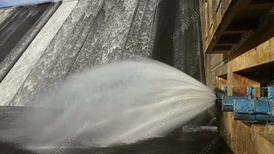 Hydroelectric dam overflow, timelapse