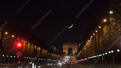 Moonset on the Champs Elysees