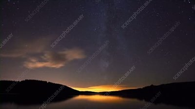 Usk Reservoir at night, timelapse