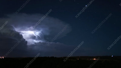 Supercell storm at night, timelapse