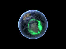 Aurora australis, satellite data