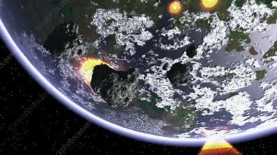 Asteroids striking Earth, animation
