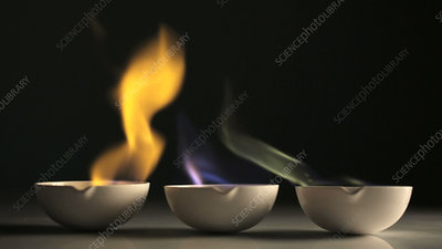 Coloured flames in ceramic dishes