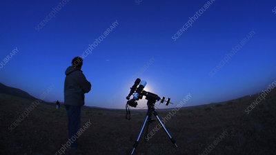 Astronomer viewing the ISS, timelapse