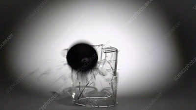 Beaker smashed by tungsten ball