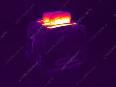 Timelapse thermography of a toaster